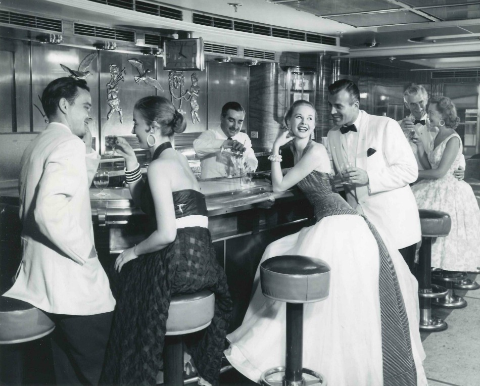 Bar on board cunard ship 1950