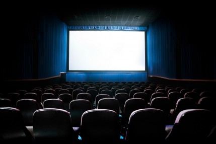 Movie Theater with blank screen / High contrast image