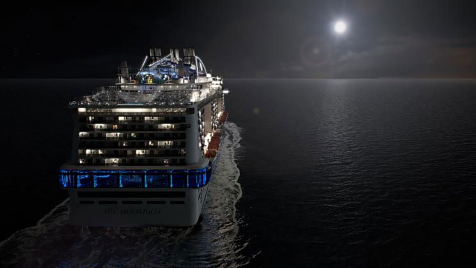 msc new ship lit up