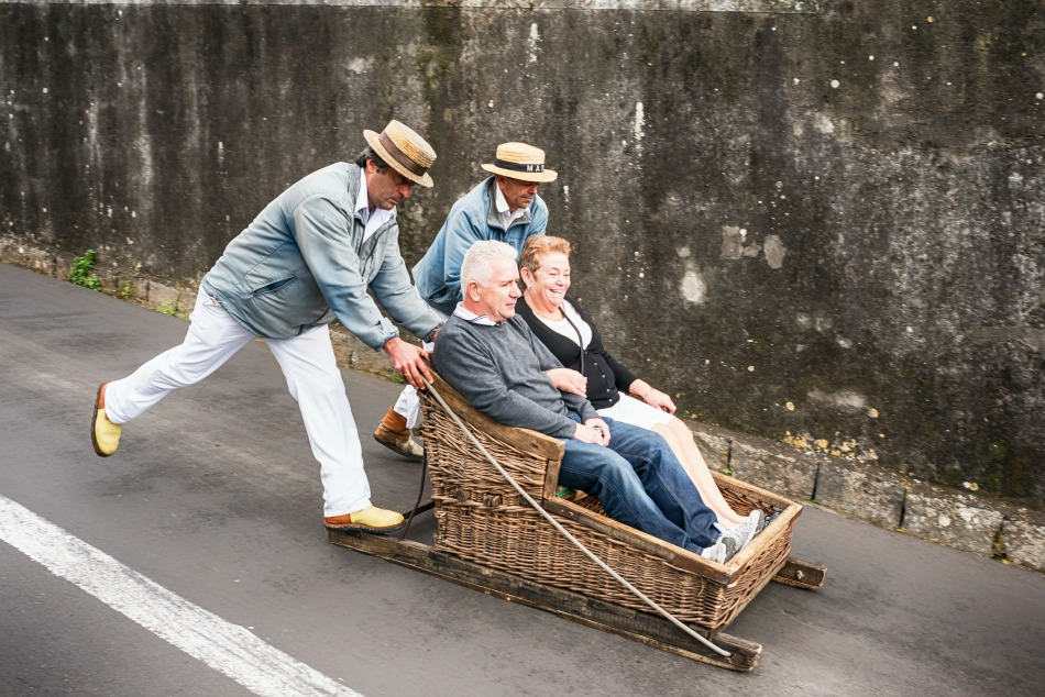 Toboggan ride from Monte to Funchal town