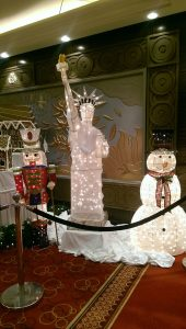 Statue of Liberty Christmas decoration on Queen Mary 2