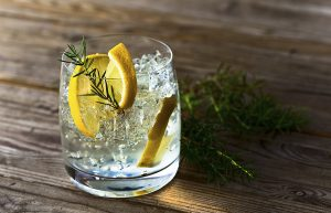 Gin with lemon and ice