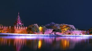 Bastion of Mandalay Palace at Night in Myanmar.