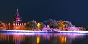 Night River. Mandalay Palace Bastion.