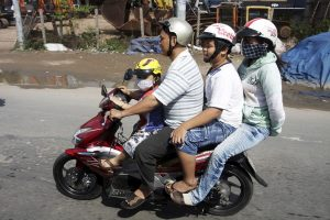 Family on a scooter in vietnam