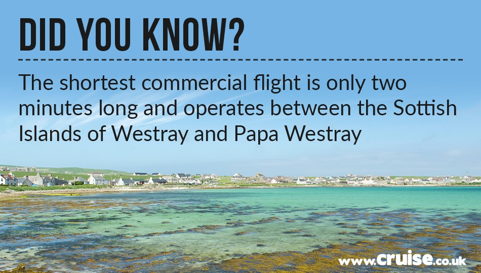 The shortest commercial flight is only two minutes long and operates between the Scottish Islands of Westray and Papa Westray.
