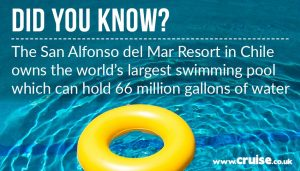 The San Alfoso del Mar Resort in Chile owns the world's largest swimming pool that can hold 66 millions of gallons of water.
