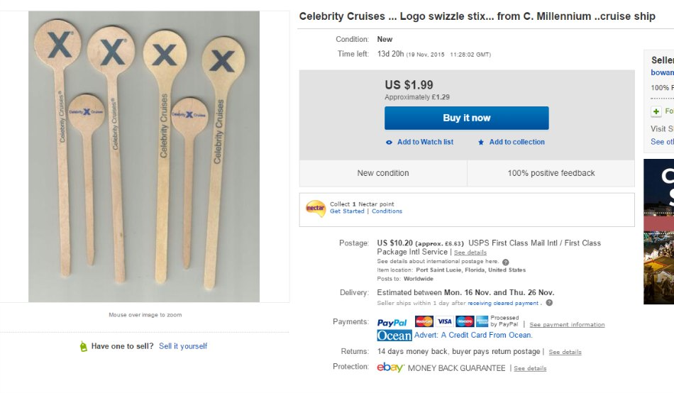 Celebrity Cruises Swizzle Stick