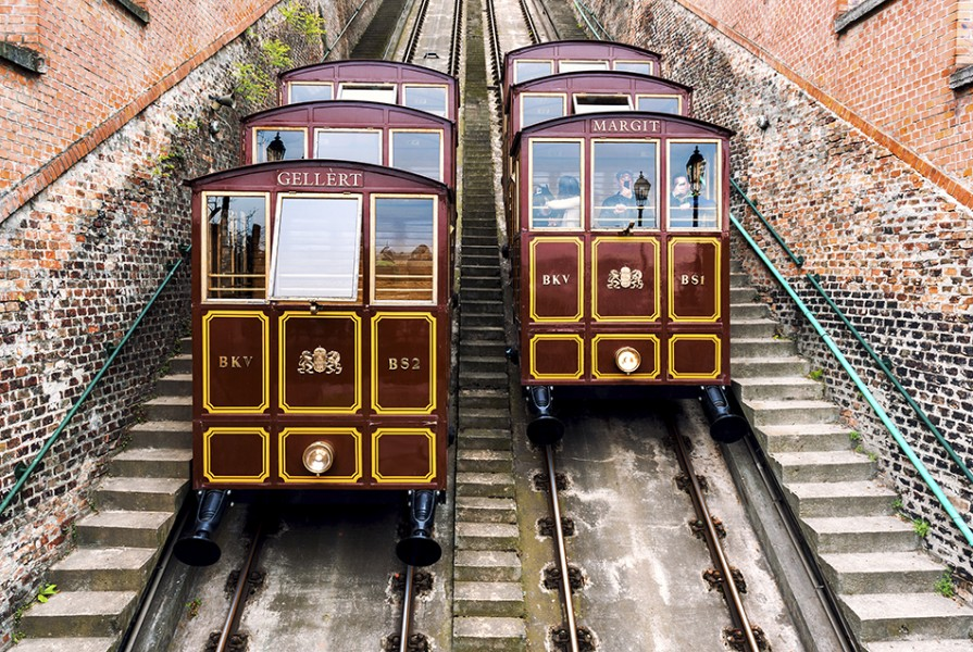Cable Car on the Castle Hill. Budapest, Hungary