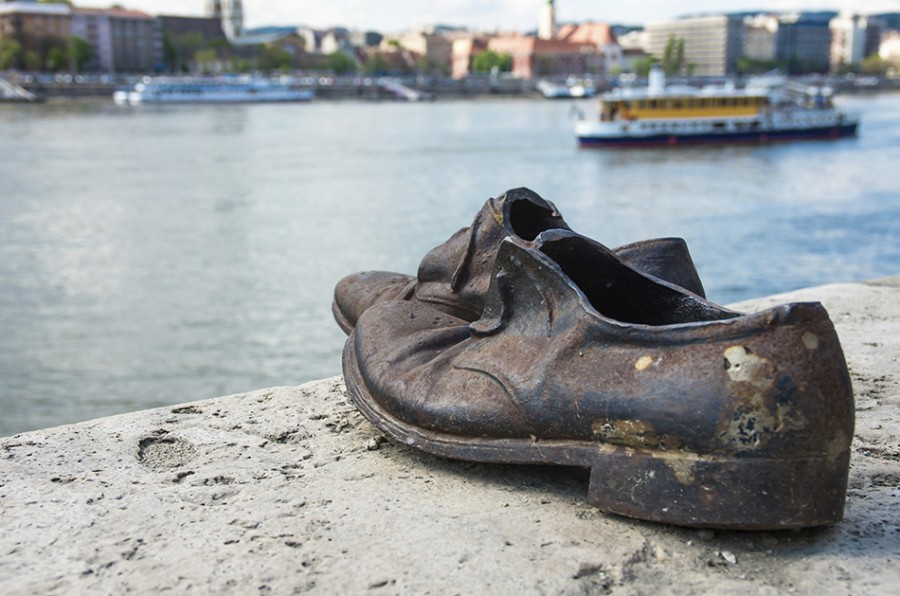 Shoes on the Danube Bank monument in Budapest, Hungary