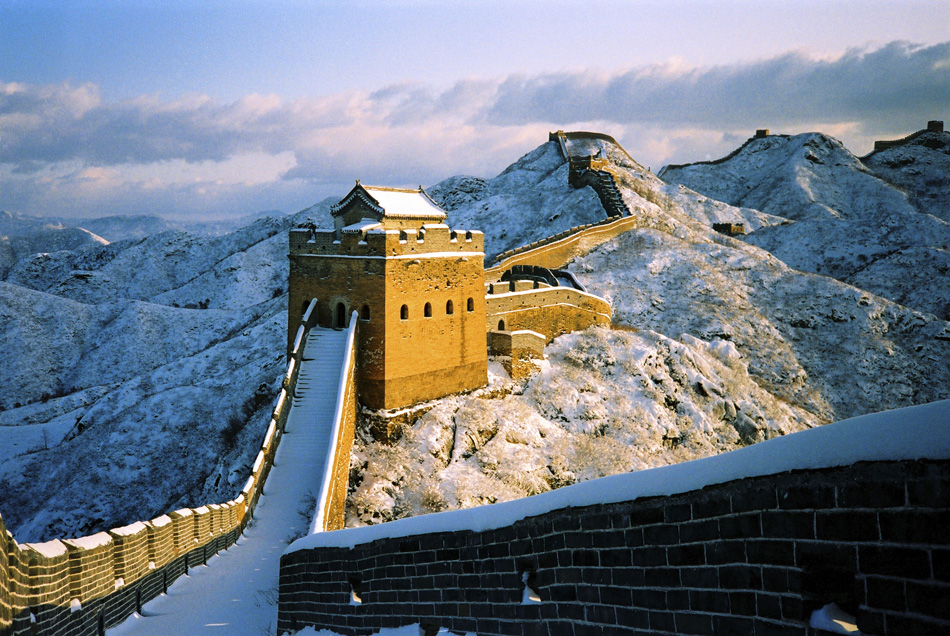 Great Wall of China covered in snow iconic landmarks