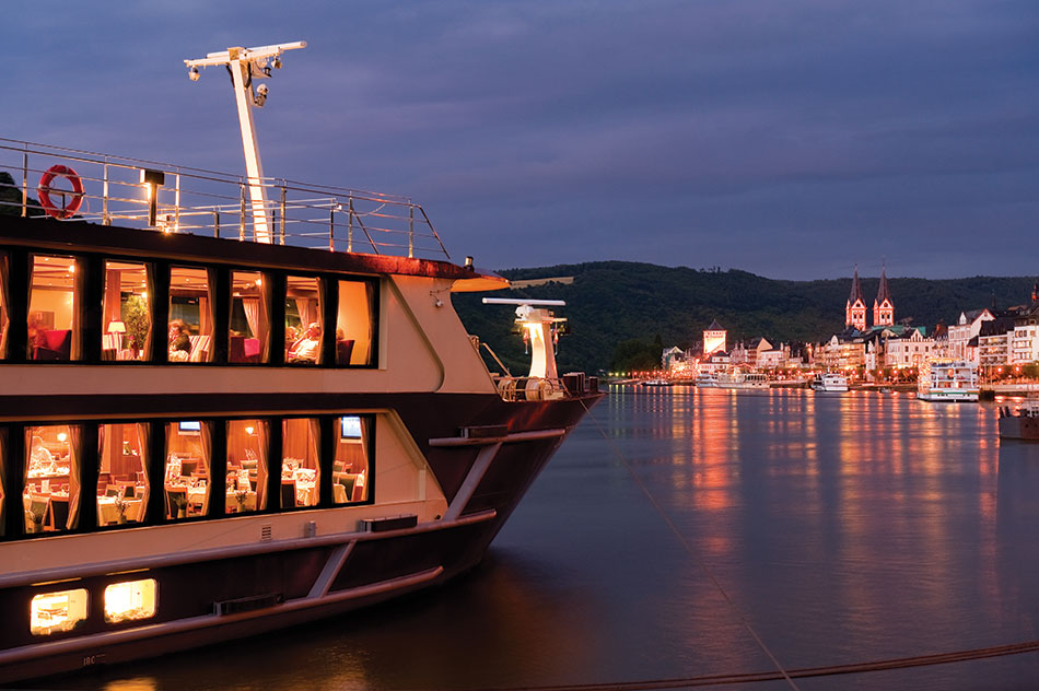 riviera river cruises ship at night