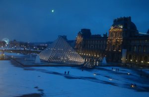 The Lourve covered in snow