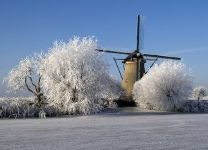 Windmills at Kinderdijk, Holland in winter