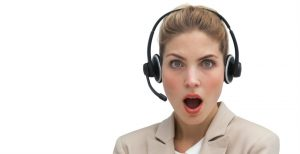 Shocked call centre worker