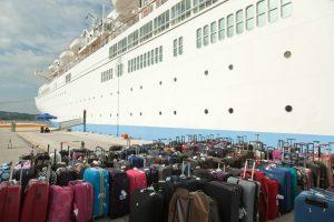 suitcases outside cruise ship