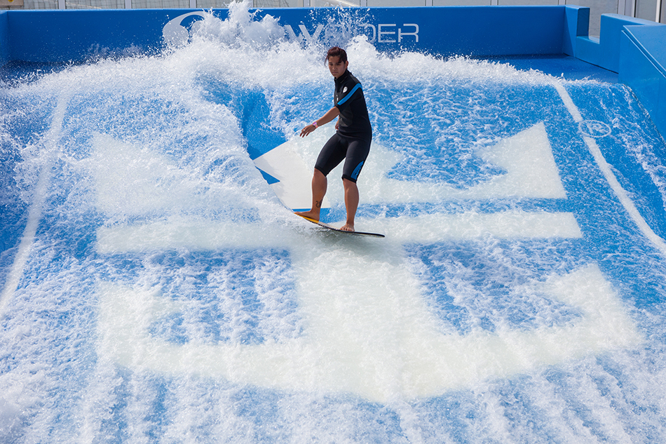 """Royal Caribbean International's Harmony of the Seas, the world""""s largest and newest cruise ship, previews in Barcelona, Spain. Flowrider"""