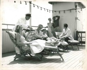 lounging on sun deck