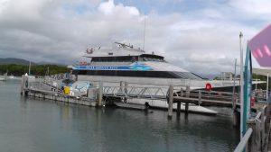 Quicksilvers catamaran in Great barrier reef