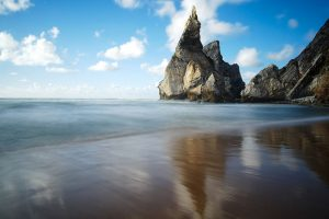 secret beach in Praia de Ursa, Portugal