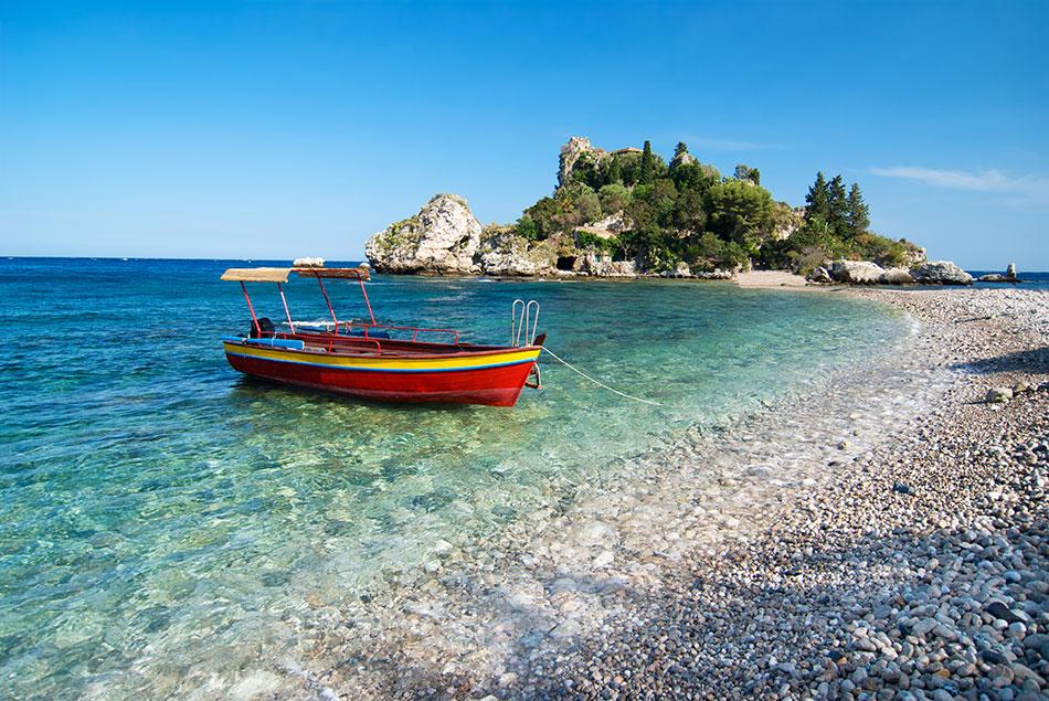 secret beach Isola Bella, Italy