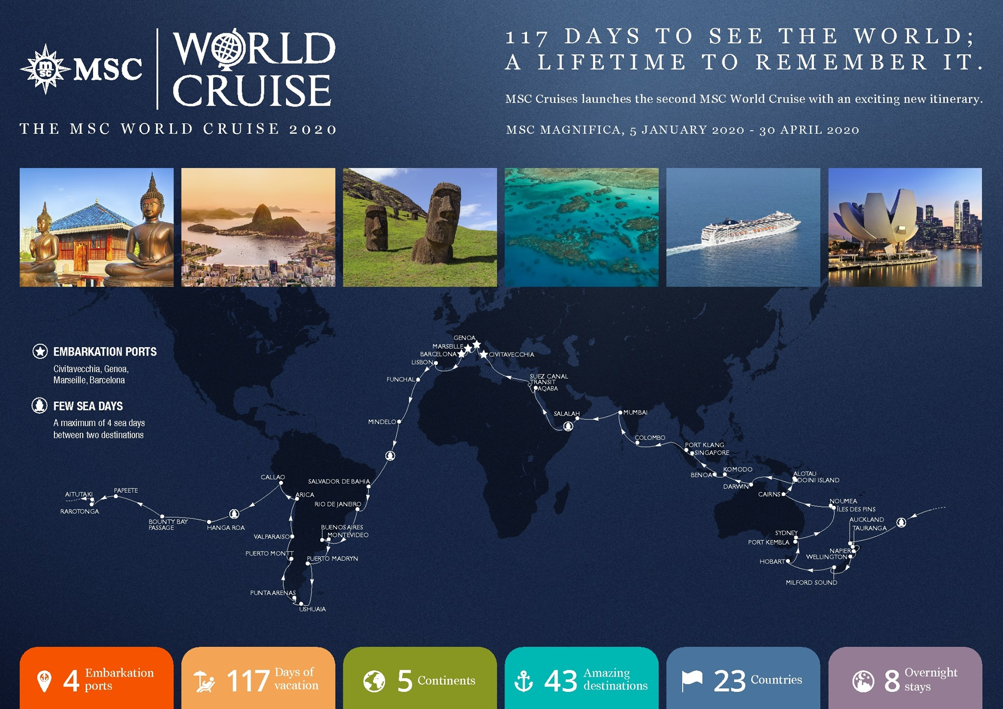 Msc announce their incredible brand new world cruise for Round the world cruise 2016
