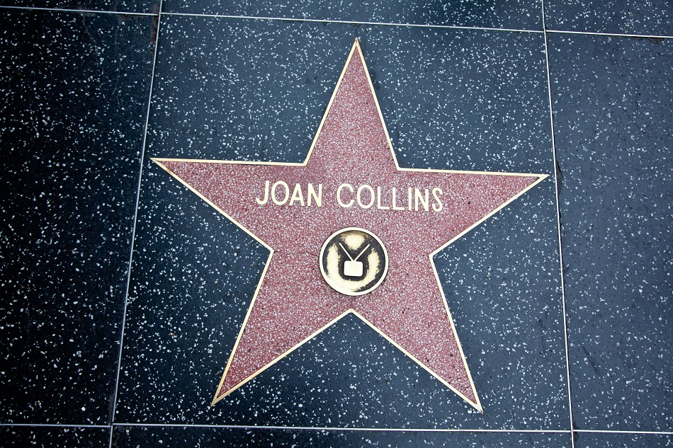 Hollywood, California, USA - February 5, 2013: Hollywood Walk Of Fame Joan Collins achievement in the entertainment industry star.