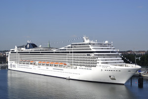 Kiel, Germany - August 19, 2012: Cruise ship MSC Magnifica operated by MSC Cruises moored in the port of Kiel in Germany. The MSC Magnifica belongs to the Musica class.