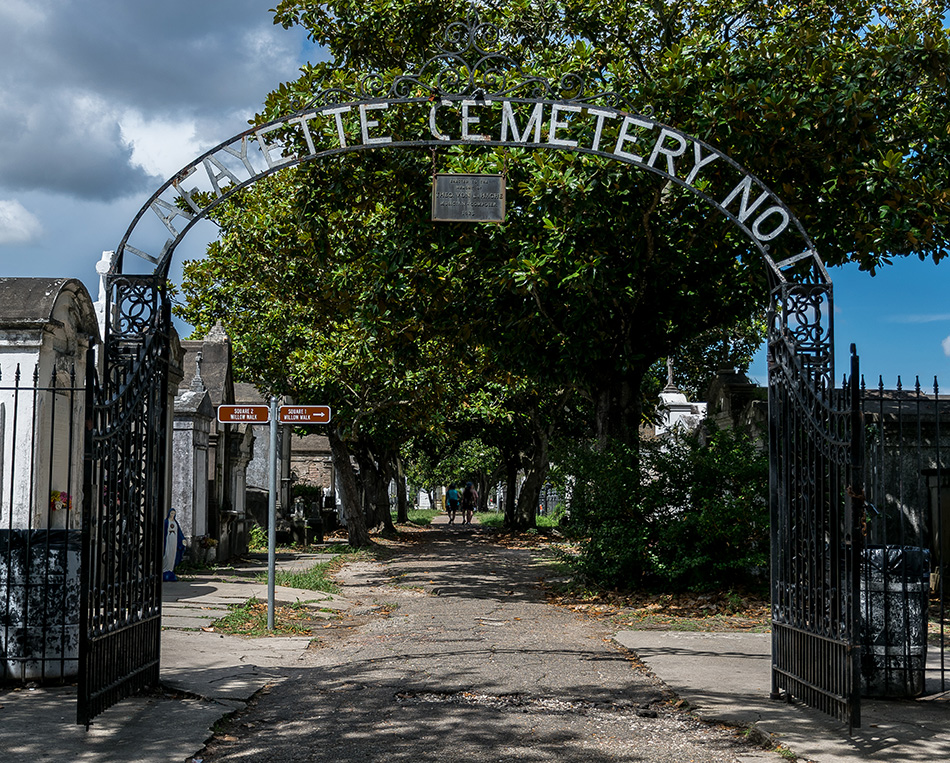 New Orleans, LA USA - September 7, 2015: New Orleans Lafayette Cemetery Entrance