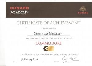 Cunard Commodore Certificate