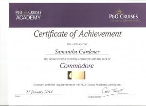 P&O Commodore Certificate