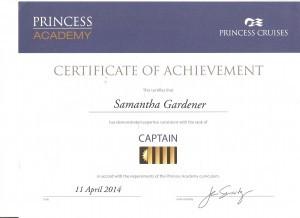 Princess Captain Certificate