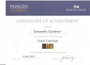 Princess Staff Captain Certificate