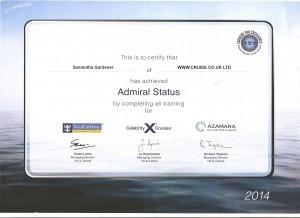 RCI, Celebrity & Azamara Admiral Certificate