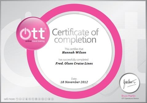 Fred Olsen Certificate