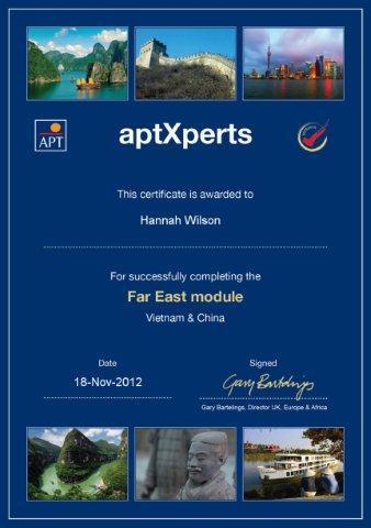 APT River Cruises Far East Certificate