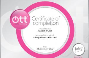Viking River Cruises Certificate