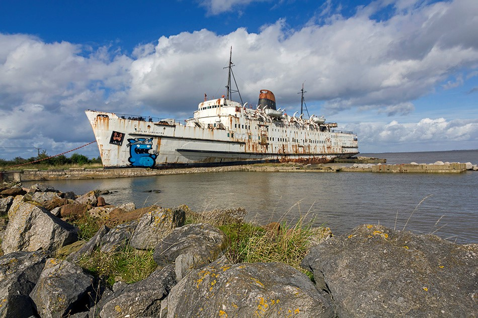 Stricken ship off the North Wales coast