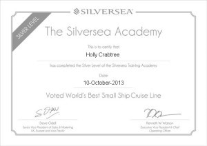 Platinum Certificate From Silversea