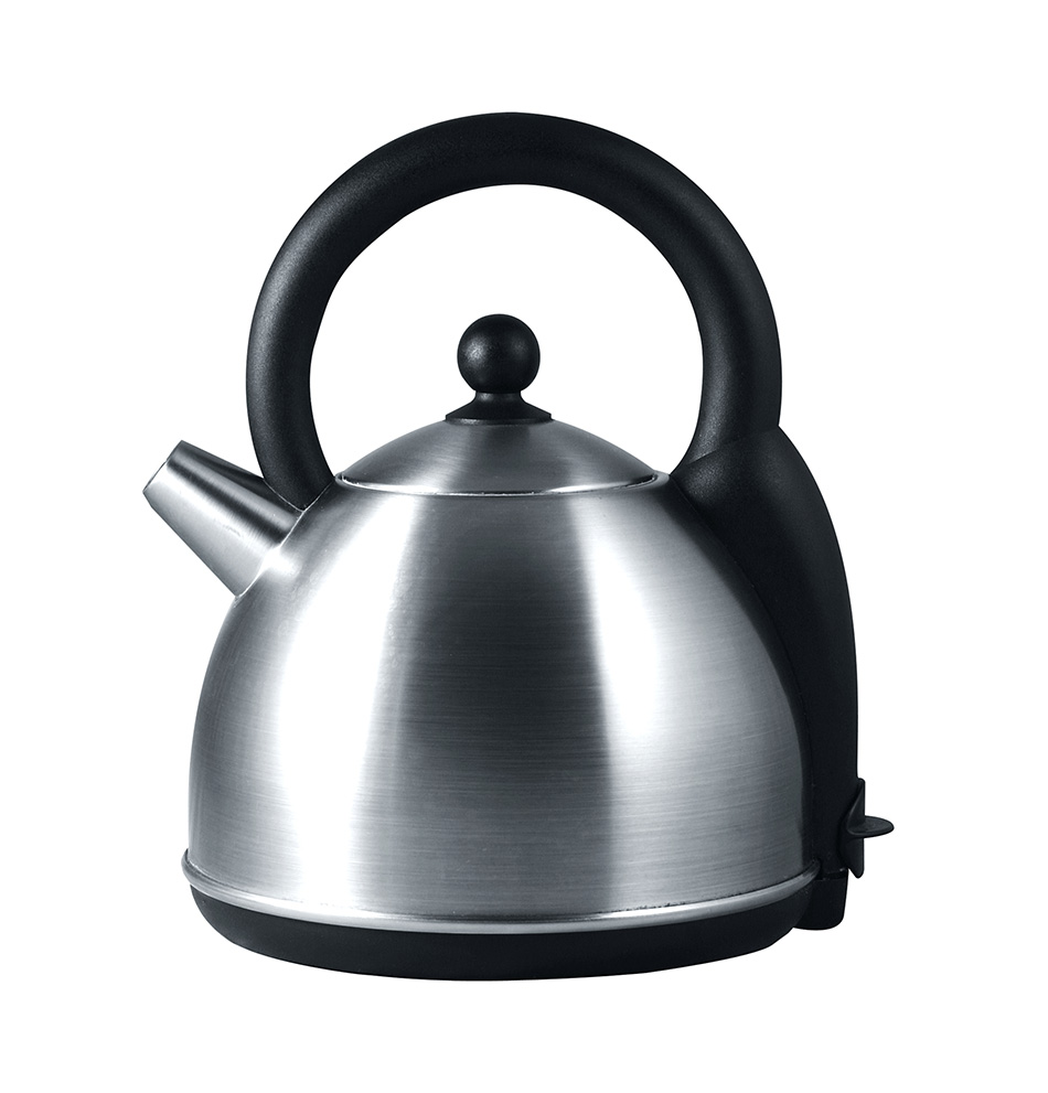A metal kettle against a white bg