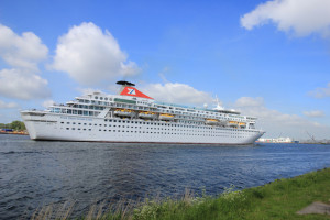 Velsen, The Netherlands - May 27, 2015: Balmoral. The Balmoral is a cruise ship owned and operated by Fred. Olsen Cruise Lines. She was built in 1988 by the Meyer Werft shipyard in Papenburg, West Germany and is 187.71 m (615 ft 10 in) long.
