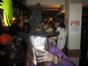 Me enjoying a cheeky pint - Halloween this year
