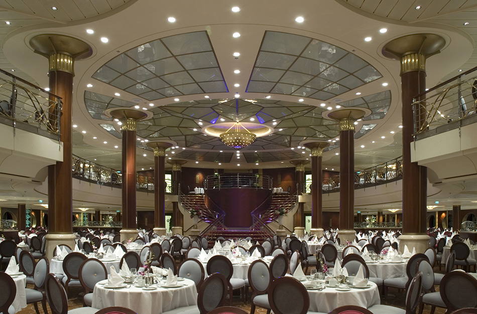 Dining hall in a cruise ship