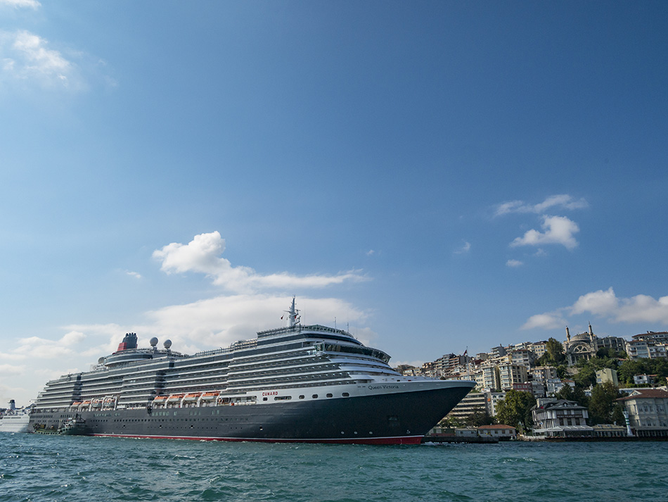 Istanbul, Turkey - October 3, 2015: MS Queen Victoria cruise ship of the Cunard Line in Istanbul, Turkey. The Queen Victoria is a Vista-class cruise ship, though slightly longer and more in keeping with Cunard's interior style. She is the smallest of Cunard's ships in operation.