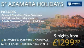 Travel in 5* style with Azamara - plus your drinks and tips are included!