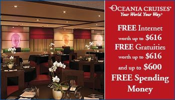 Oceania Cruises - Free Gratuites, Free Internet and Free Onboard Spend