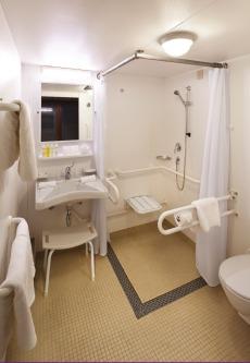 An example of an adapted bathroom on board Azamara