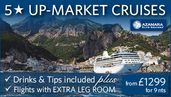 Travel in luxury with 5* Azamara Cruises - Plus you'll get extra leg room on your flights!