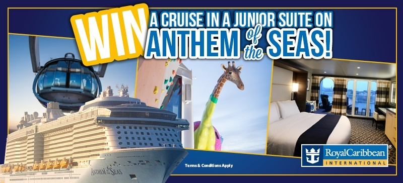 Win a cruise in a junior suite on Anthem of the Seas