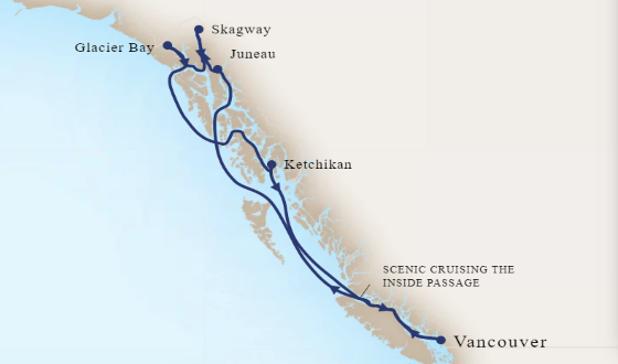 5* Luxury Cruising The Inside Passage, Vancouver & Glacier Bay Map